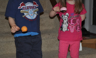 Build gross motor skills by having egg and spoon races with plastic Easter eggs