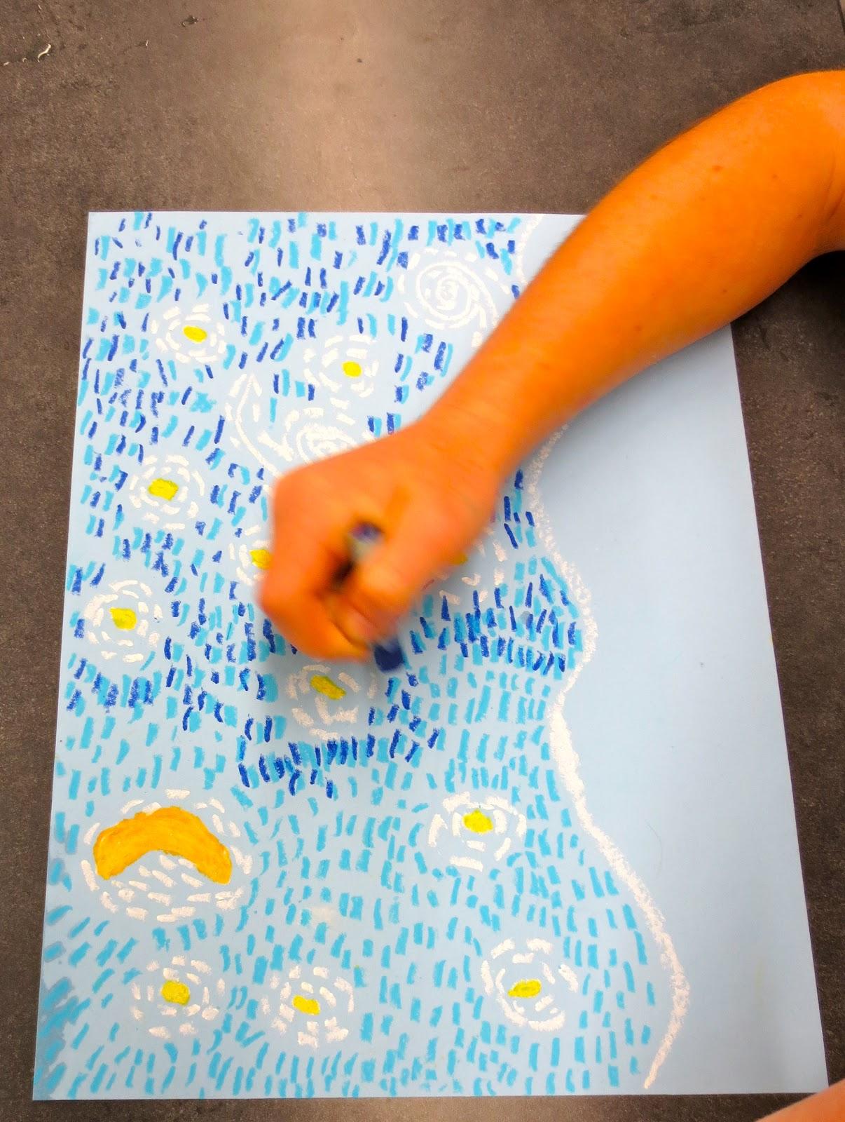 Zilker Elementary Art Class 1st Grade Starry Night Over Austin