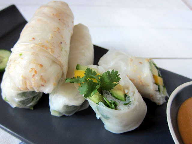 Mango, Avocado, and Cucumber Spring Rolls - Cupcakes and Kale