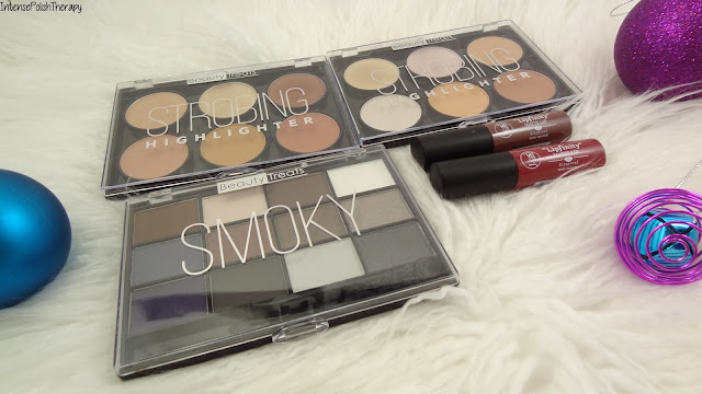Beauty Treats Highlight palette, Nudes & Smokey Eyeshadow & J. Cat Beauty Lipfinity Matte Lip