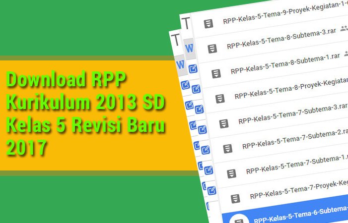 Download RPP Kurikulum 2013 SD Kelas 5 Revisi