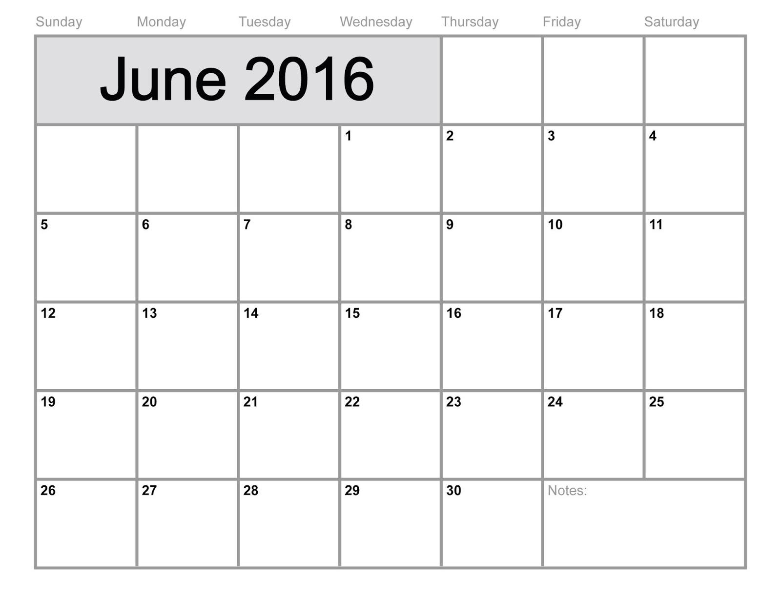 June 2016 Blank Printable Calendar – Blank Printable Calendar