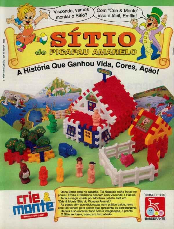 Propaganda do brinquedo de montar do Sítio do Pica Pau Amarelo, apresentado em 1996