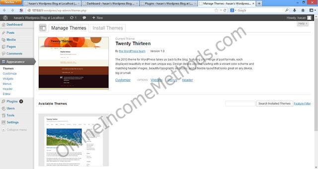 Wordpress Localhost WP-Admin - Theme Installation