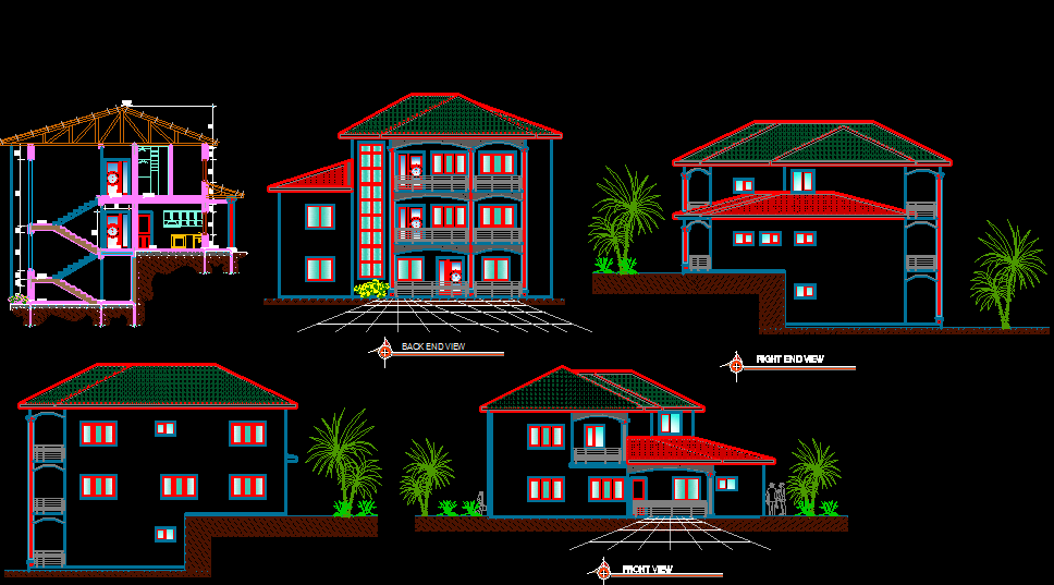 Triplex 5 Bedrooms 1900 square feet house sections and elevations