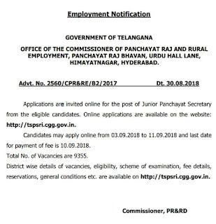 Panchayati Raj Department Telangana Issued Recruitment Notification to fill 9355 Panchayat Secretary Vacancies