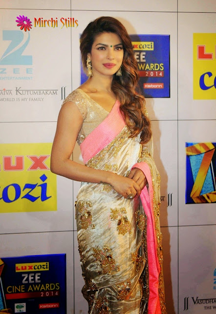 Priyanka Chopra In Pink Bordered Saree