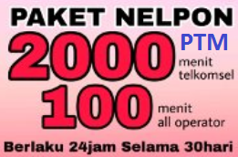 Paket Nelpon Telkomsel AS Paket 2000 Menit Telkomsel & 100 Menit All Operator 45 Ribu/30 Hari