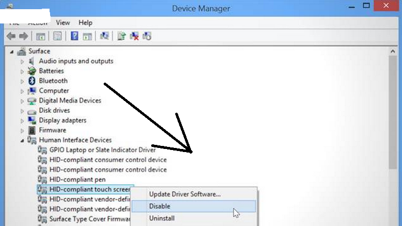 Disable touch in windows 8 and windows 7 step 2
