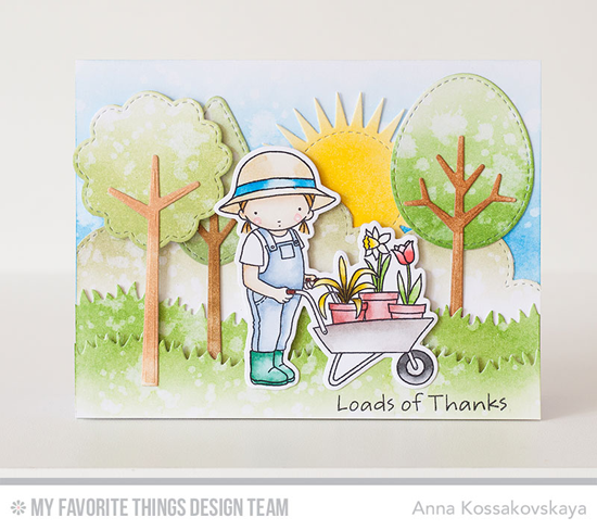 Loads of Thanks Card by Anna Kossakovskaya featuring the Pure Innocence Loads of Thanks stamp set and Die-namics, Radiant Sun, Tree-mendous, Grassy Hills, and Stitched Cloud Edges Die-namics #mftstamps
