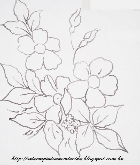 pintura em tecido desenho flor