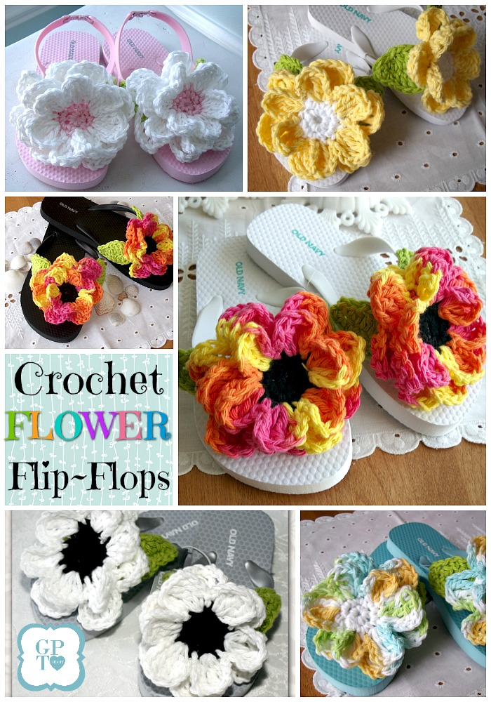 2e5f195fa Dress up inexpensive flip flops with easy to make crochet flowers for  summer fun. How
