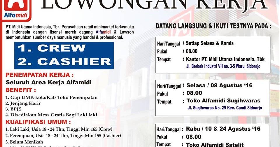 Lowongan Kasir Alfamidi Terbaru Sidoarjo & Surabaya