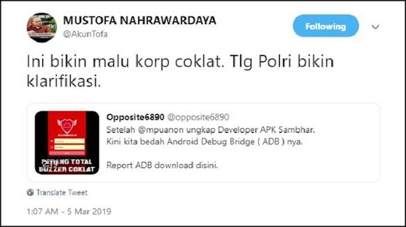 PSI Tantang Mustofa Nahra Buktikan Soal Polri Jadi Buzzer Jokowi