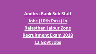 Andhra Bank Sub Staff Jobs (10th Pass) in Rajasthan Jaipur Zone Recruitment Exam 2018 12 Govt Jobs