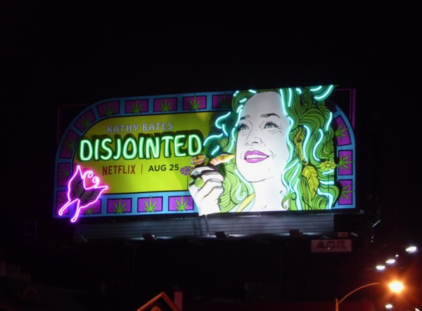 Neon Disjointed moving hand billboard night