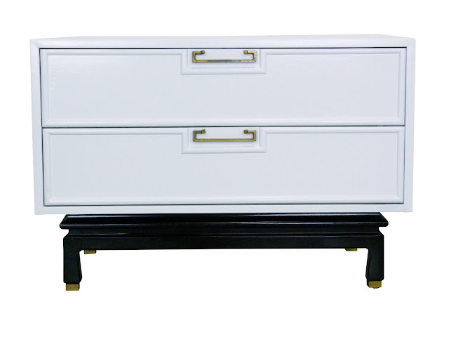 American of Martinsville White Lacquer Enamel Chest Night Stand Table Img