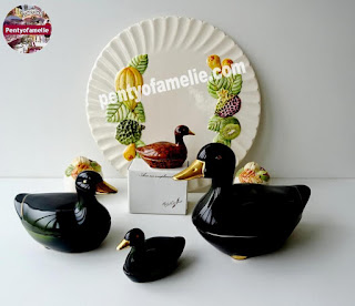Vintage michel caugant glossy deep Green Duck Family faience tureens with golden liseret