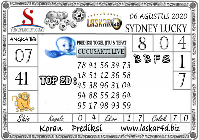 Prediksi Sydney Lucky Today LASKAR4D 06 AGUSTUS 2020