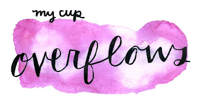 my cup overflows purple pink watercolor bookmark