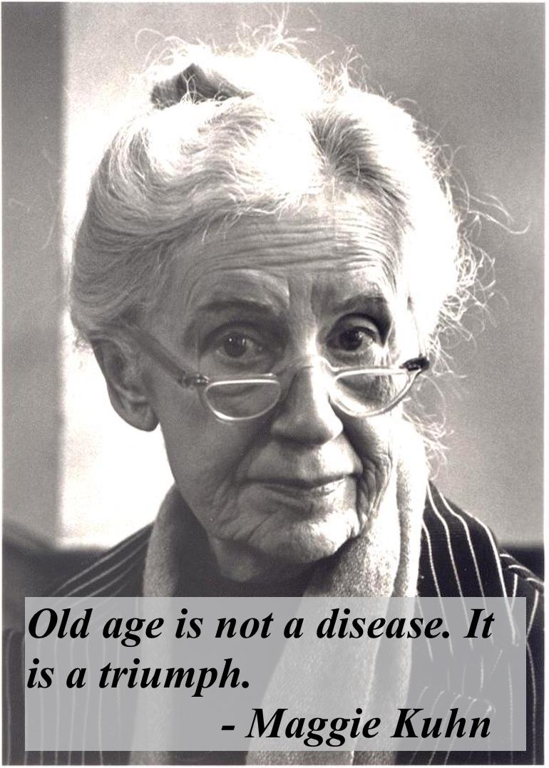Gray Panthers founder Maggie Kuhn died April 22, 1995, Philadelphia, Pennsylvania