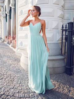 A-line V-neck Chiffon Floor-length Ruffles Hot Backless Prom Dresses