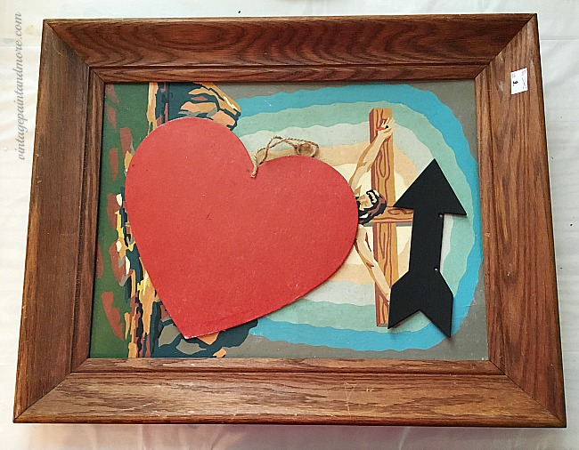 Vintage Paint and more - thrift store picture frame and heart shape used to make a vintage Valentine wall art