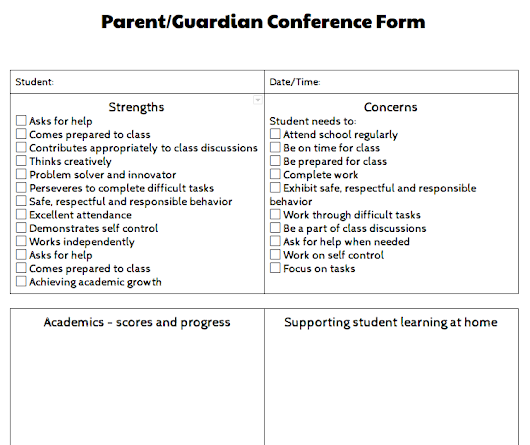 Parent Conference Ideas and Supports