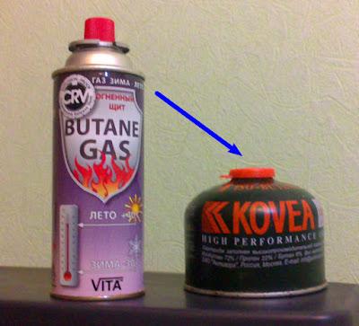 Переливаем газ из цангового баллона в резьбовой