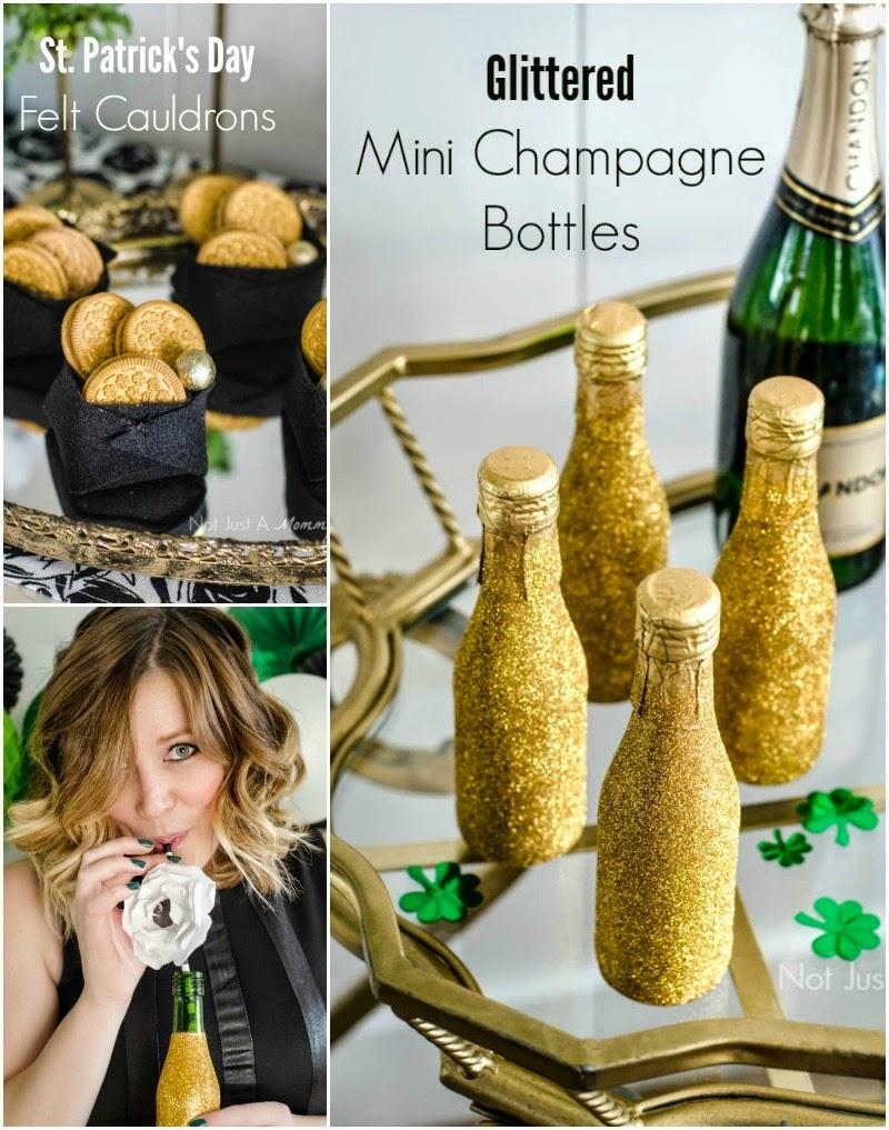St. Patrick's Day Blogger Party - Felt Cauldrons + Glittered Mini Champagne Bottles