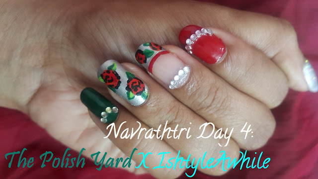 Navrathri Day 4: The Rose Nail Art in collaboration with The Polish Yard image