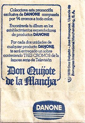 Sobre cromos Don Quijote de la Mancha Danone