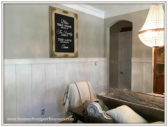 French Country Farmhouse Dining Room-French Farmhouse-DIY Wainscoting-Board and Batten-French Farmhouse-From My Front Porch To Yours
