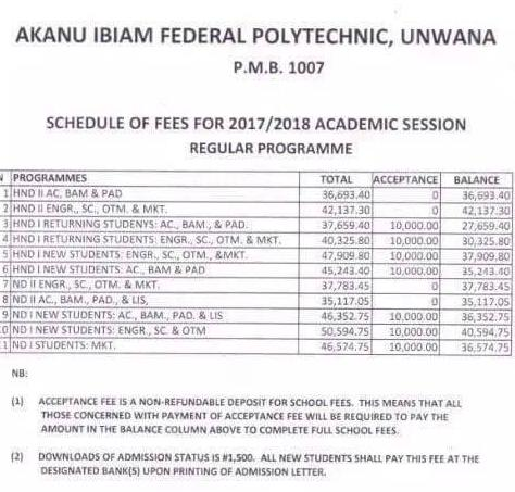 Akanu Ibiam Poly Unwana 2017/2018 School Fees Schedule Out
