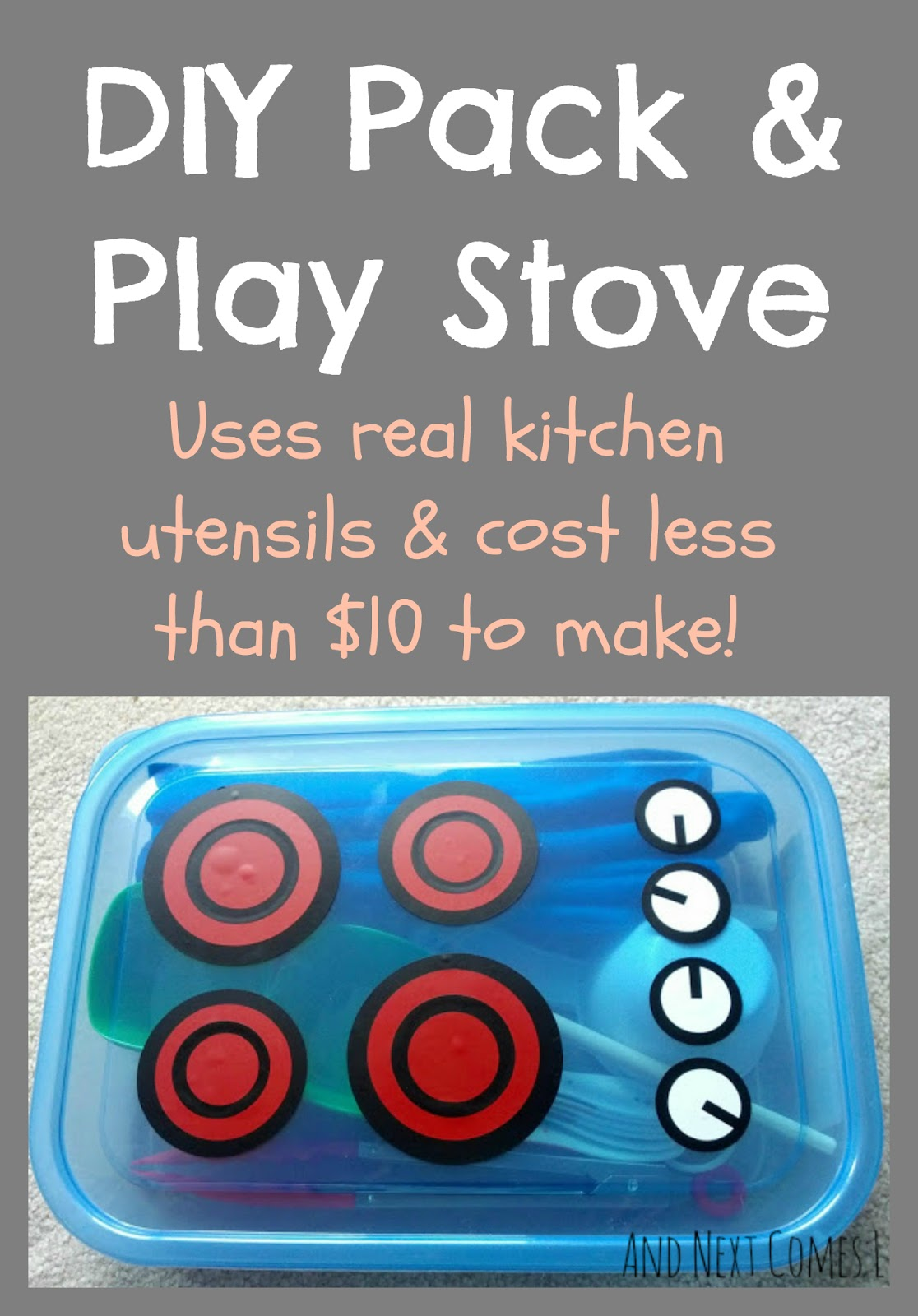How to make a DIY portable play kitchen for kids for $10 or less from And Next Comes L