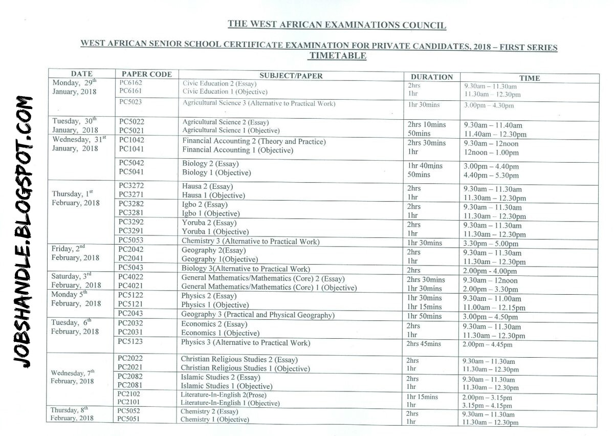 WAEC Releases Officially Timetable For 2018 First Series Candidates
