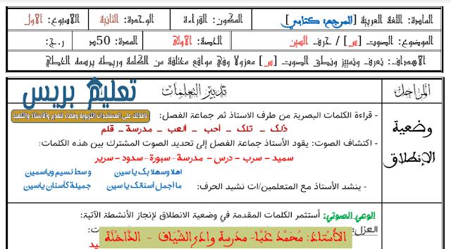 جذاذات الوحدة الثانية حرف السين مكون القراءة المرجع كتابي في اللغة العربية للمستوى الأول ابتدائي