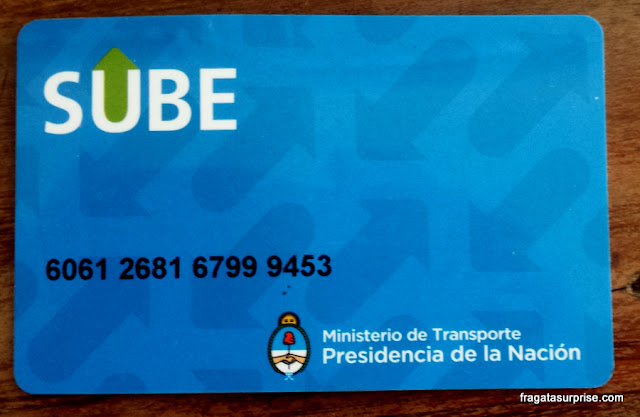 Cartão SUBE, transporte público em Buenos Aires