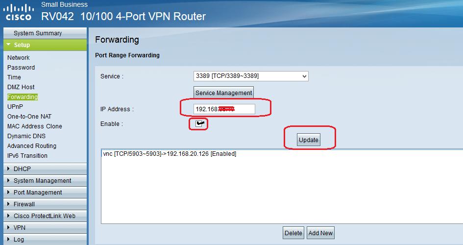 Port forwarding for VNC viewer on Cisco RV042