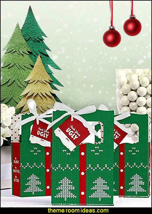 Ugly Sweater - Holiday & Christmas Party Gift Bag  ugly sweaters - Christmas ugly sweaters  - decorate yourself - womens ugly sweaters - ugly mens sweaters - embellished ugly sweaters - fun sweaters - novelty sweaters - Christmas party sweaters - quirky party sweaters - Christmas party hats - peppermint candy cane Leggings - ugly sweater party decorations