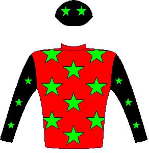 Rocket Countdown - Silks - Owner: Messrs M F Bass, F C Blomkamp, T Govender, B Riley & Wehann Smith - Colours: Red, bright green stars, black sleeves, bright green stars, black cap, bright green stars