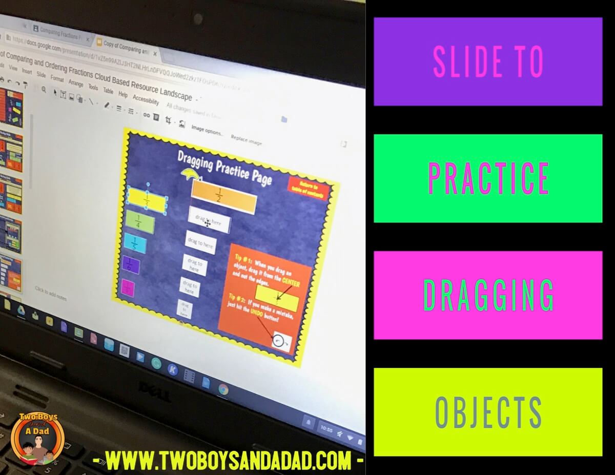 comparing fractions using Google Slides practice page