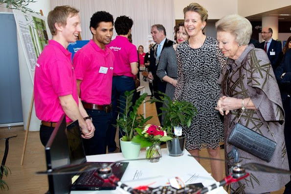 Princess Beatrix and Princess Mabel of The Netherlands attended 2nd Prince Friso Engineers award ceremony at InHolland school in Hague city of Netherlands
