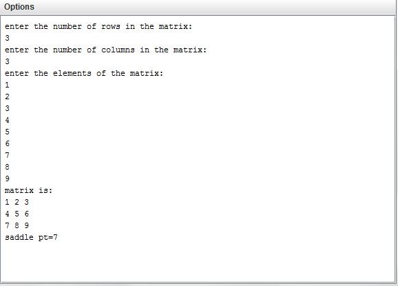 Java program to find saddle point in a matrix - Get Program Code