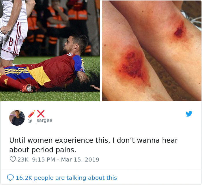 People Shut Down Man Who Told Women To Stop Complaining About Their Period Pain If They Don't Know What A Scraped Knee Pain Feels Like