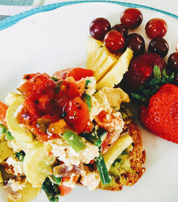 Eggs with veggies on toast, avocados, Veggies for breakfast, Breakfast recipe,  two eggs