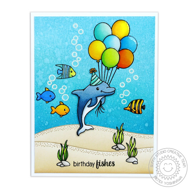 Sunny Studio Stamps Oceans of Joy Birthday Fishes Dolphin Card by Mendi Yoshikawa