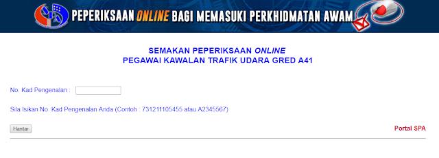 Peperiksaan Online Pegawai Trafik Kawalan Udara Gred A41/A29