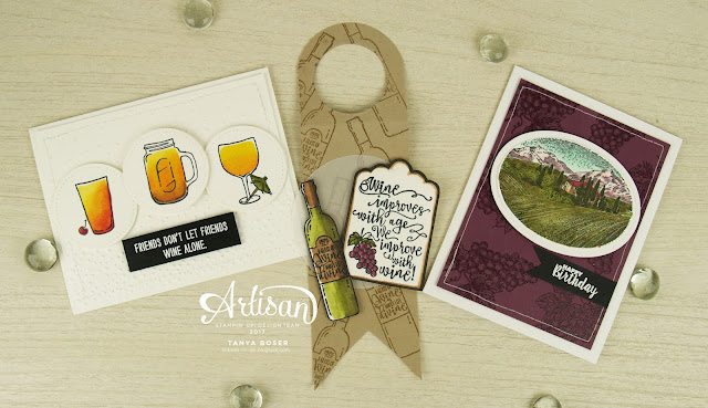 Mixed Drinks, Tuscan Vineyard, and Half Full from Stampin' Up! that's a whole lot of booze! Wine and beer too. That will cool you off on a hot August afternoon!~Tanya Boser for Inky Friends