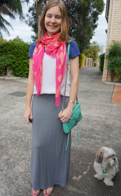Bright accessories with a colour block tee and grey maxi skirt